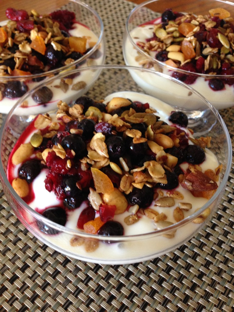 Granola over Yogurt with fruit