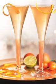 Champagne glass with lemon twist