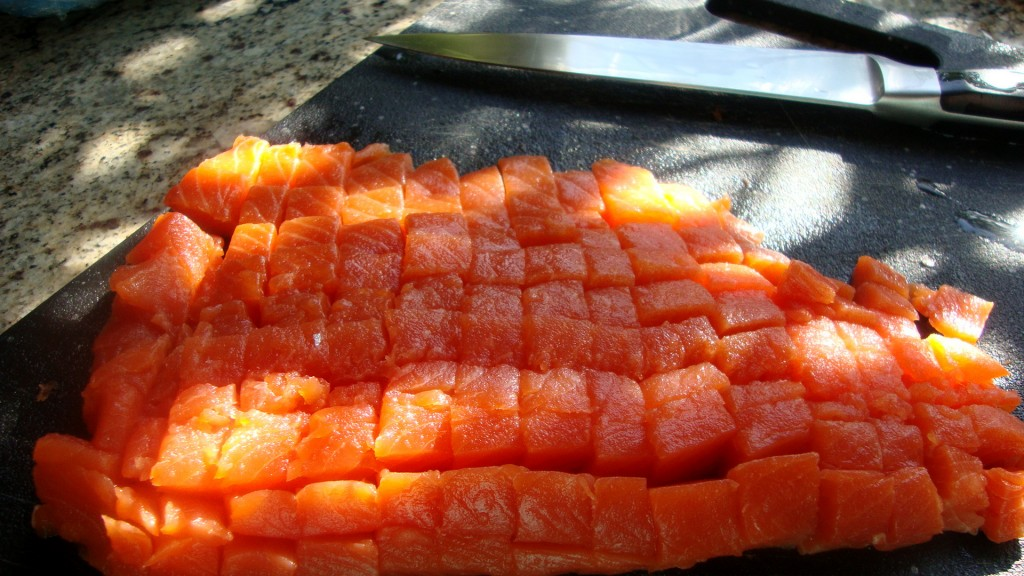 Cubed Fresh Salmon