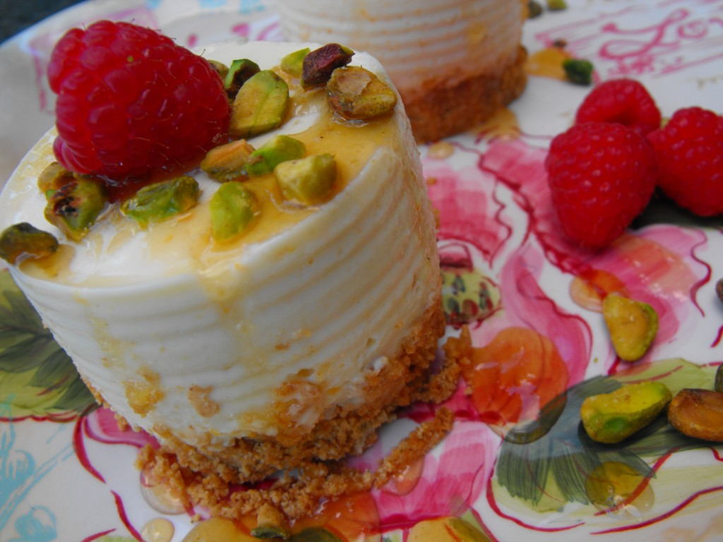 Drizzle with Honey, Top with Pistachios and Raspberries