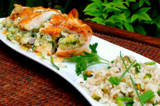 Herb Goat Cheese Stuffed Chicken Breast With Spicy Orange