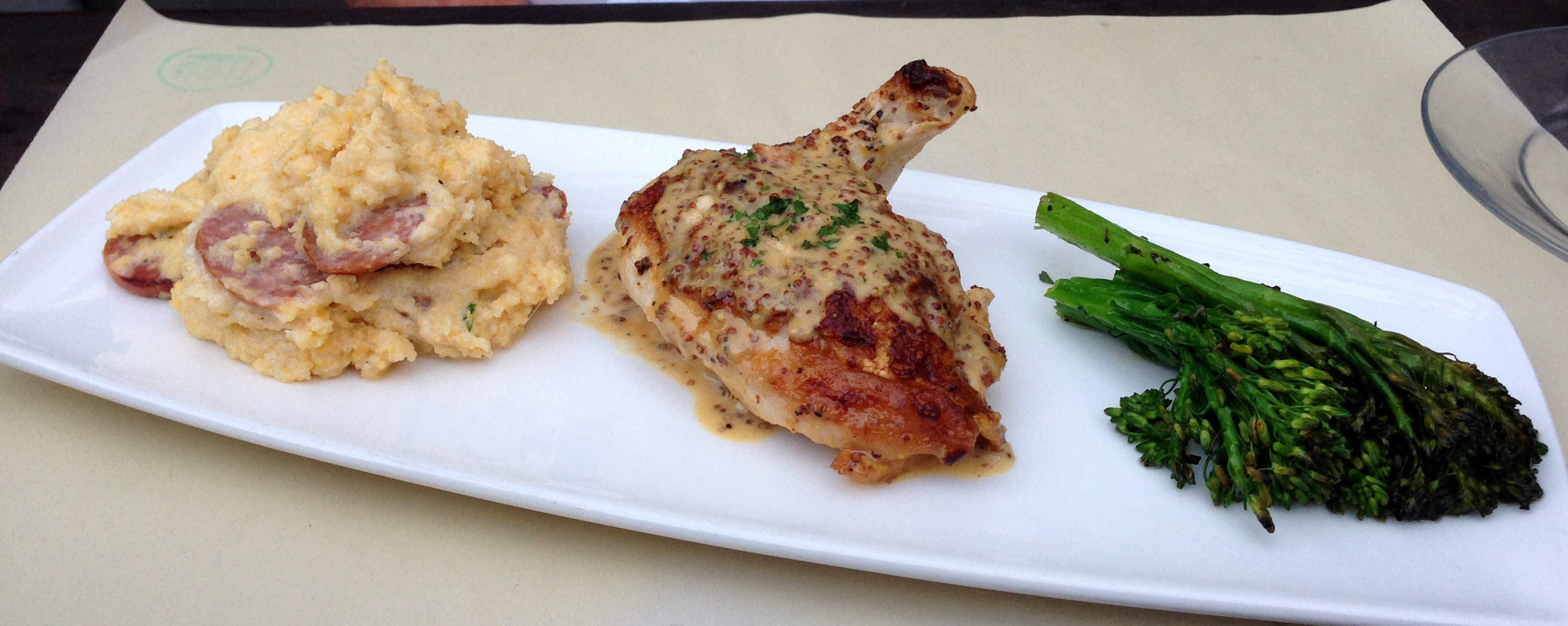 Chicken with Champagne Dijon Sauce and Andouille Sausage Polenta