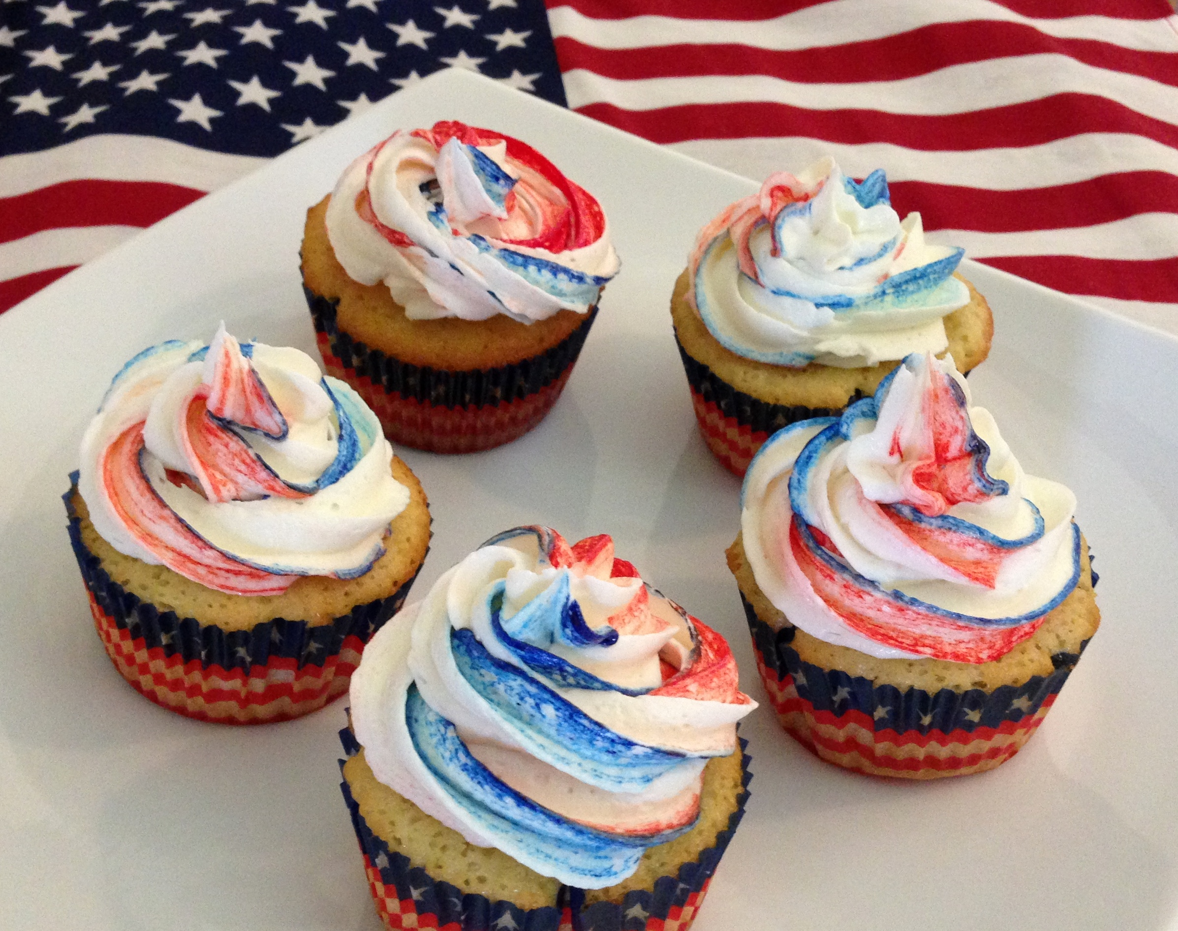 Patriotic Cookie Dough Cupcakes