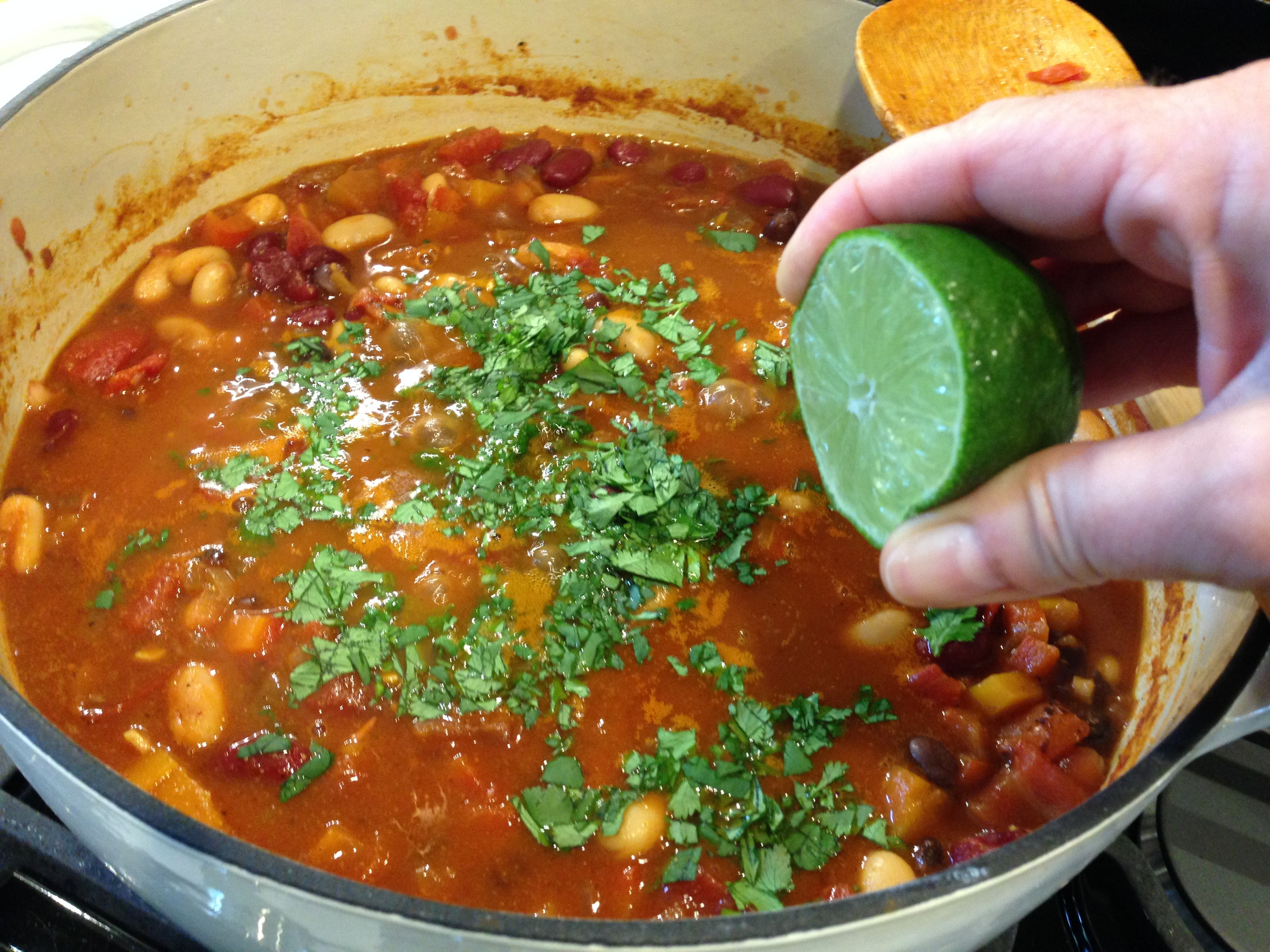 Add lime and cilantro
