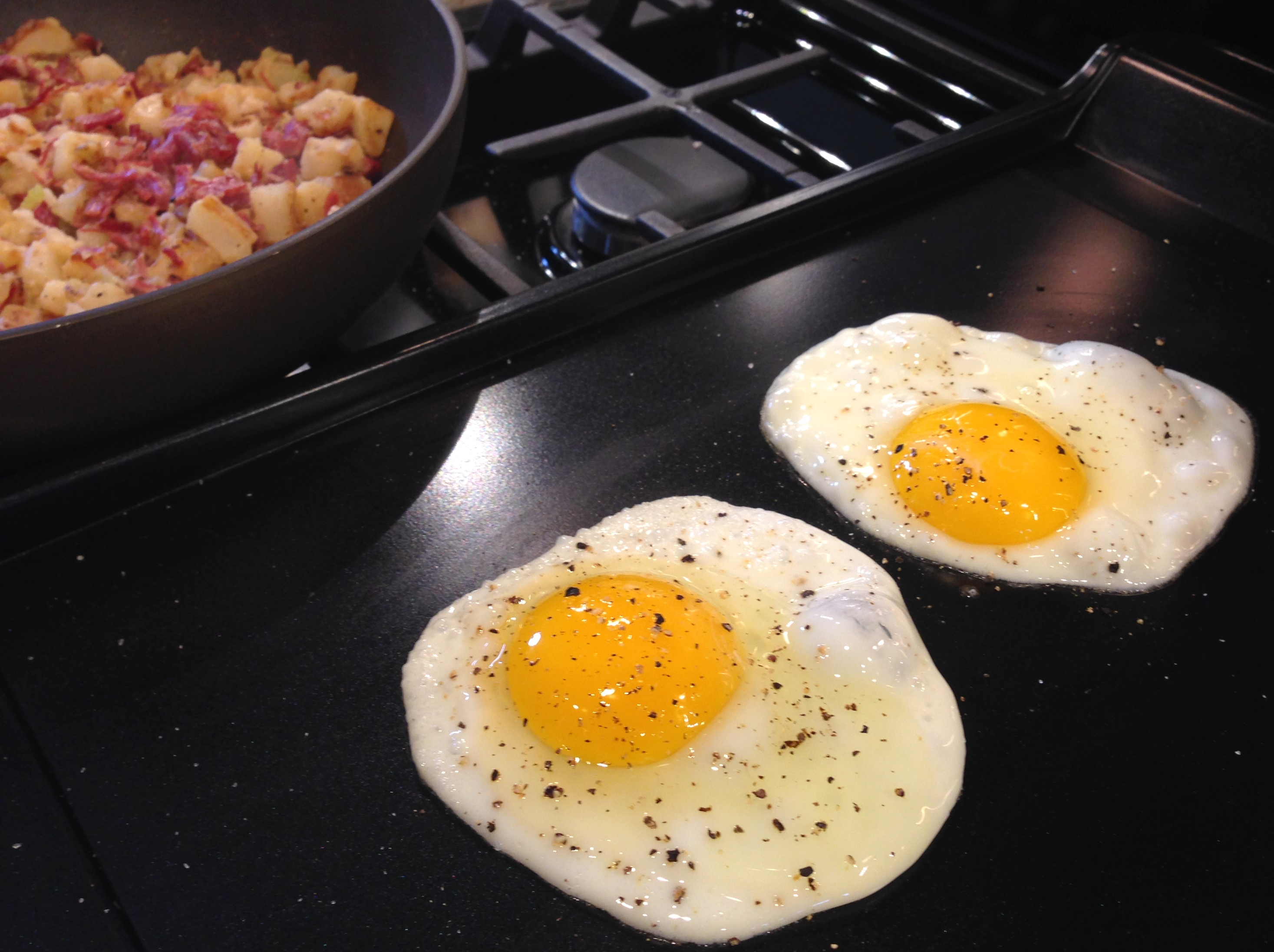 Griddle cook the eggs