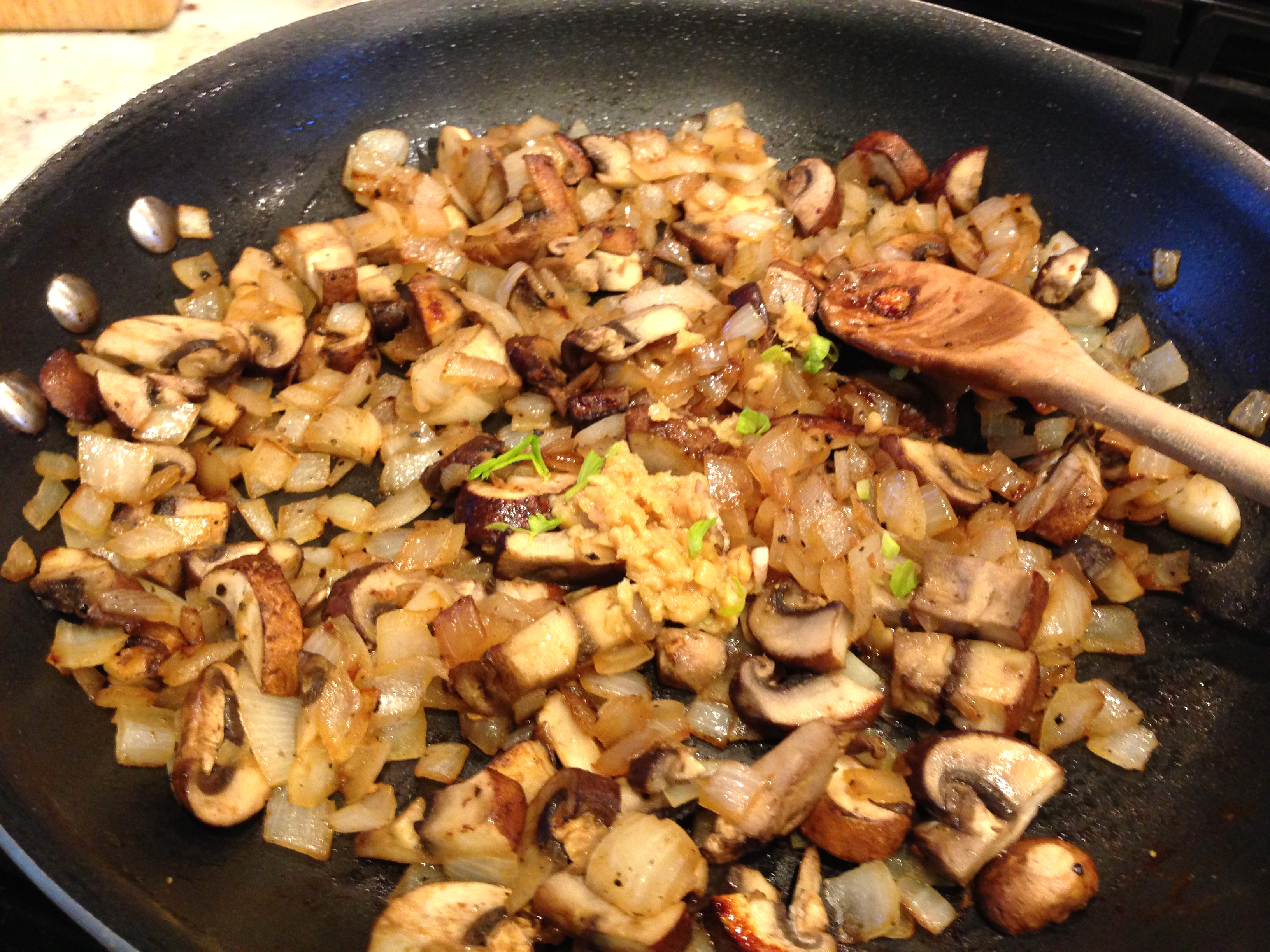 Saute mushrooms onion and garlic