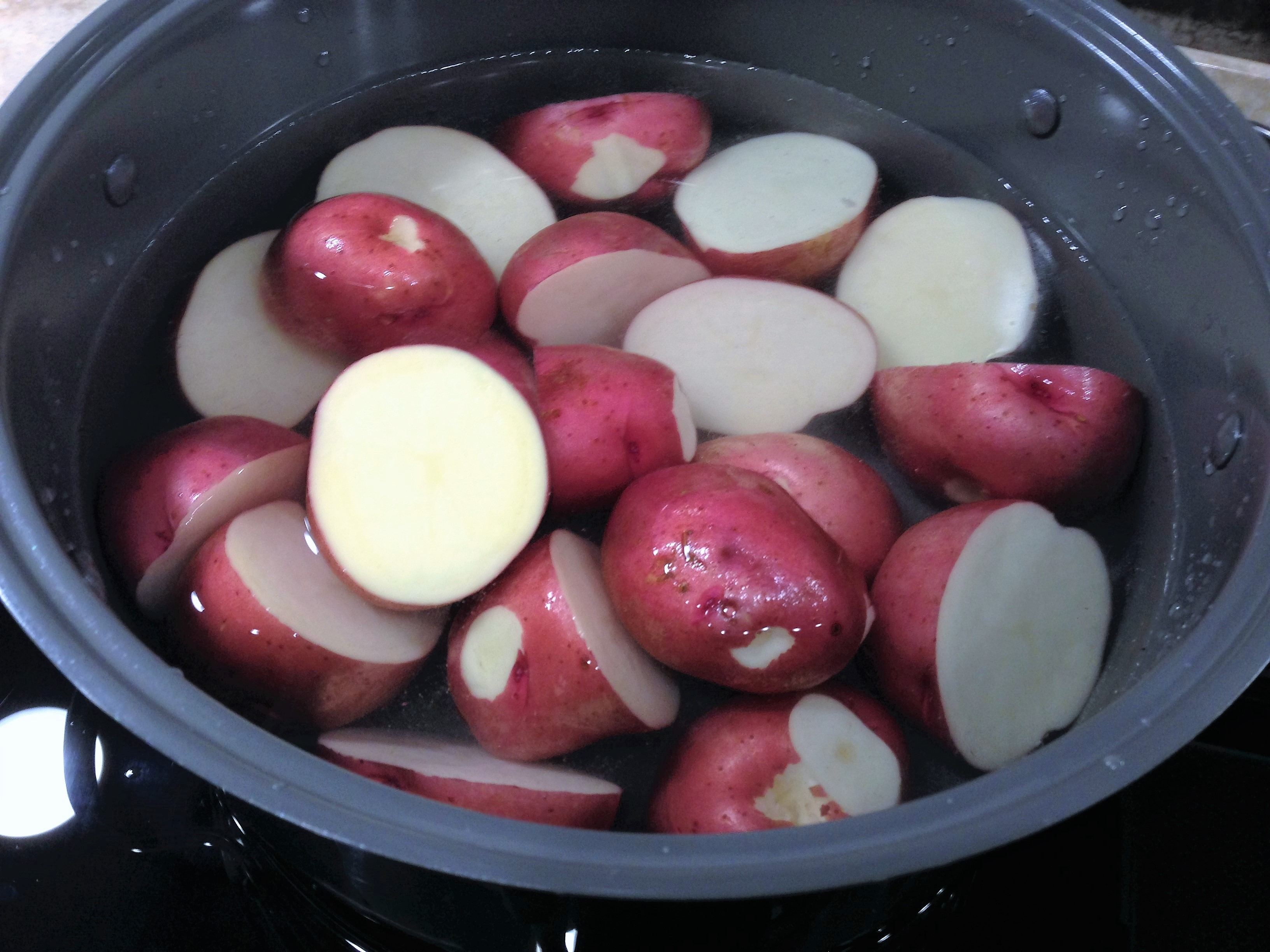 Potatoes in pot